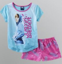 Justin BIEBER 2 Piece Pajamas NeW Girl's 7/8 Short Sleeve Shirt Pink Shorts Pjs
