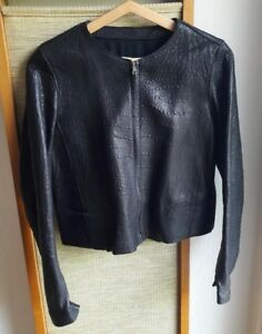 Veste en véritable cuir noir grainé neuve SANDRO taille 36 avec doublure chemise