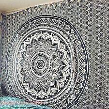Indian Black and White & Gray Ombre Tapestry Henna Mandala Wall Hanging Throw