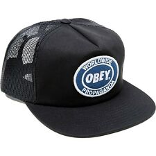 Obey Oval Patch Trucker Hat Black Skateboard Street Shepard Fairey NEW