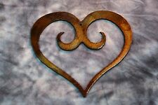 """Extra Small  3 1/2"""" Ornamental Scrolled Heart /Bronze Plated Metal Wall Decor"""