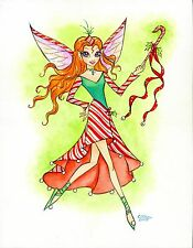 """""""Candy Cane Fairy"""" Original Watercolor by Anna-Maria Cool"""