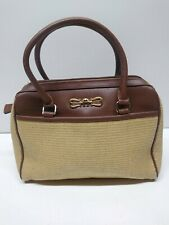 Vtg. Etienne Aigner woven jute straw handbag w/leather accent