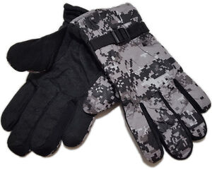 Digital Camouflage Men's Fleece Lined Polyester Hunting Gloves Choice of Colors