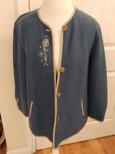 GEIGER Made in Austria Pure Wool Button front Blue Sweater Women's Size 36