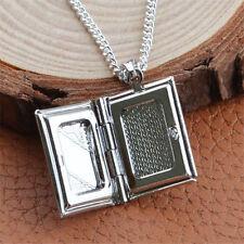 Argent Livre Médaillon Pendentif Collier Photo Chaîne Forme du Livre Mode Neu