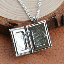 Women Men's Silver Book Box Photo Locket Pendant Necklace Chain
