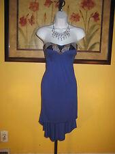 NWT  bebe 2b Julianne Hi-Lo Blue Strapless Maxi Dress Size S