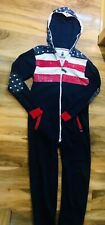 Men's SoulStar Navy Stars & Stripes Design Hooded All In One Size Small