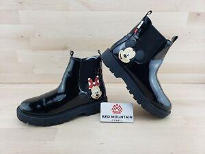 Zara Disney Mickey Minnie Mouse Black Boots - Girls Size 3.5