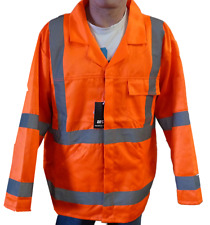 Fluorescent Orange High Viz Coat Mens Reflective Warning Cotton Jacket Work Wear