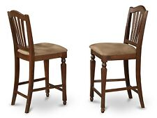 Set of 4 kitchen counter height bar stool chairs microfiber padded seat mahogany