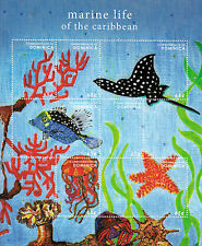 Dominica 2013 MNH Marine Life of Caribbean 7v M/S Fish Fishes Stingrays Stamps