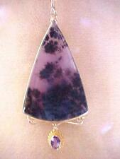 Antique Style 14k Solid Yellow Gold Purple Detrite Aate / Amethyst Pendant
