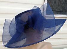 navy blue organza woven big brim crin bow hat ascot wedding bridal ascot race