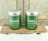 Vintage CANISTER SET Offwhite Enamel Coffee Tea Dutch Enamelware storage jars