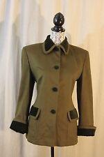 Vintage Loewe Women's Peacoat Olive Green Brown Velvet Trim Cashmere Wool