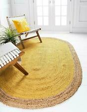 "3x5""Feet Natural Braid Oval Shap Yellow Jute Rug Hand Woven Reversible Area Rugs"
