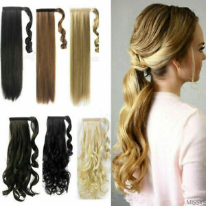 """16""""-22"""" Wave Wrap Around Clip In Ponytail 100% Real Human Hair Extensions 80g"""