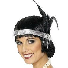 Silver 1920s Headband With Feather - Charleston Fancy Dress Ladies Satin
