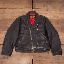 "Mens Vintage Harley Davidson Black Lined Perfecto Leather Jacket XL 48"" R6146"