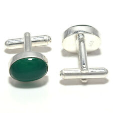 Green Onxy Gemstone Handmade 925 Sterling Silver Cufflinks Jewelry 5899
