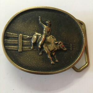 Vintage Heavy Solid Brass Bull Cowboy Belt Buckle Stamped Cowboy Bull rider