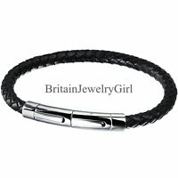 5MM Black Leather Braided Wristband Stainless Steel Clasp Bracelet Mens Jewelry