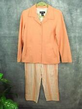 Denim Co Seersucker Crop Pant Suit Jacket Melon Coral Peach Stripe Sm S 39 Bust