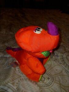Fisher Price Plush Puffalump Pink Dinosaur Squeak Toy Vintage 1992 Coral NICE
