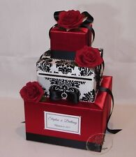Red with Black and White Damask Wedding Card Box with Red Roses
