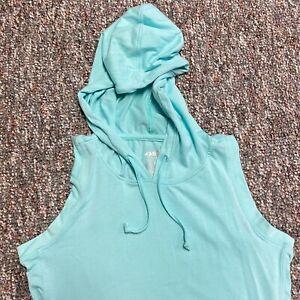 Avia Hooded Sweatshirt Womens Small Mesh Hem Activewear Hoodie Green Running Box
