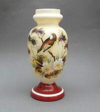 Florero de cristal opal Victoriano ~ pintado del esmalte pájaro Y Flores ~ 29cm