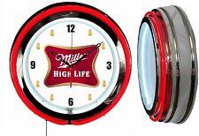 "Miller High Life Beer 19"" Double Red Neon Clock Man Cave Bar Garage w/ Beer Mugs"