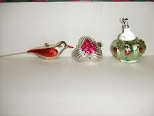 ANTIQUE 3pc VERY RARE MECURY GLASS CHRISTMAS TREE ORNAMENTS CROWN / BUTTERFLY /