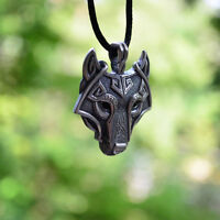Vintage Mens Vogue Wolf Animal Head Pendant Leather Chain Necklace Retro Gift
