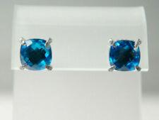 David Yurman Sterling Silver 9mm Blue Topaz Diamond Chatelaine Stud Earrings