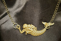 Antique Goldtone Bronze Mermaid Choker Necklace, Steampunk, Celtic, Gothic Boho