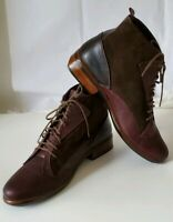 NAOT Womens 'Mistral' Burgundy Leather Hash Suede Sz 39 Ankle Boots booties $220
