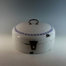 Antique French Blue White Enamelware Round Bread Box