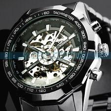 Reloj de Pulsera nuevo ganador para Hombre Negro Acero Inoxidable Mecánico Automático Esqueleto