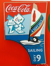 2012 Coca Cola London Olympic Paralympic Sailing Pin Yachting Day 9 Bottle Set