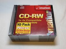 CD-RW Imation 10 pack NEW CD slim design storage cases 1x-4x compatible 650MB 74