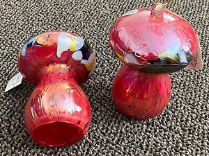 NWT Set of 2 Huta SZKLA Rogi Glass Handblown Large Mushrooms Red Poland Ornament