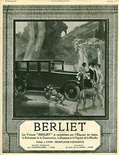 Publicité ancienne automobile voiture Berliet issue du magazine de 1924