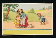Dogs anthropomorphic mother & children produced in Belgium PPC c1940/50s?