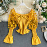 Lady Off Shoulder Floral Blouses Tops Lolita Sheer Puff Ruffle Flare Sleeve Sexy