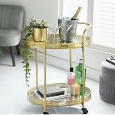 New Deco Glamour Drinks Trolley in Gold with 2 Mirrored Shelves Art Deco Dining