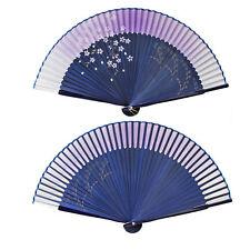 Vintage Chinese Hand Held Bamboo Silk Flower Folding Pocket Fan Wedding Decor