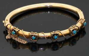 Antique 14K yellow gold elegant natural turquoise bangle bracelet